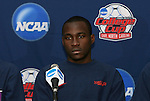 10 December 2009: Sophomore midfielder Tony Tchani. The University of Virginia Cavaliers held a press conference at WakeMed Soccer Stadium in Cary, North Carolina on the day before playing Wake Forest in an NCAA Division I Men's College Cup semifinal game.