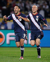 Clint Dempsey (8) of USA celebrates his goal with Michael Bradley (4). USA tied England 1-1 in the 2010 FIFA World Cup at Royal Bafokeng Stadium in Rustenburg, South Africa on June 12, 2010.