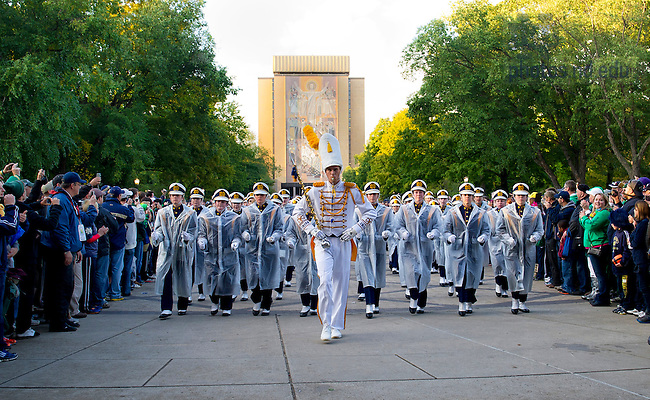 September 22, 2012; The Notre Dame Marching Band enters the stadium prior to the game against Michigan. Photo by Barbara Johnston/University of Notre Dame