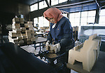 A worker sands off the rough edges of the toy wooden horse at the Hachinohe Toy Wooden Horse Factory in Hachinohe, Japan. The Hachinohe horse or Yawata Uma is made in a small factory, where, for eight hours a day, six days a week, 11 workers cuts, chisel, sand, paint and shellac wooded horses of all sizes ranging from just over an inch to nearly a foot high. (Jim Bryant Photo)........