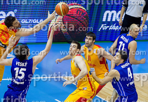 Jan Vesely #15 of Czech Republic between Marc Gasol #13 of Spain, Victor Claver #10 of Spain and Fernando San Emeterio #11 of Spain during basketball match between National teams of Spain and Czech Republic in Round 1 at Day 4 of Eurobasket 2013 on September 7, 2013 in Arena Zlatorog, Celje, Slovenia. (Photo by Vid Ponikvar / Sportida.com)