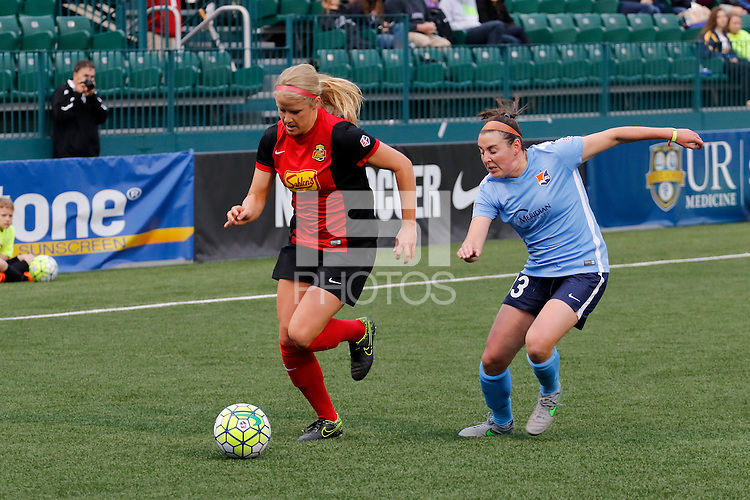 Rochester, NY - Saturday May 21, 2016: Sky Blue FC defender Erin Simon (33) chases Western New York Flash forward Makenzy Doniak (3). The Western New York Flash defeated Sky Blue FC 5-2 during a regular season National Women's Soccer League (NWSL) match at Sahlen's Stadium.