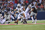 Southern Illinois' Paul McIntosh (17) recovers a missed snap against Ole Miss at Vaught-Hemingway Stadium in Oxford, Miss. on Saturday, September 10, 2011.