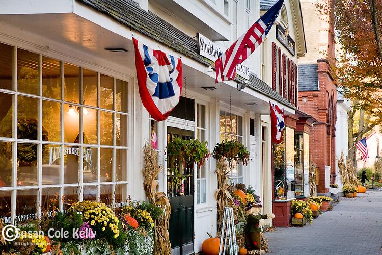 Shops on Main Street decorated for Autumn in Stockbridge, MA, USA