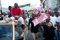 Supporters of Haitian presidential candidate Michel Martelly protest voting irregularities in the Delmas neighborhood on November 28, 2010 in Port-au-Prince, Haiti.
