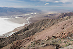 Death Valley National Park, California; looking west from Dantes View over the Badwater Basin and Death Valley, towards the Panamint mountain range, the overlook sits at 5475 feet above sea level, while the valley floor is the lowest in North America at 282 feet below sea level