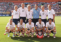 22 MAY 2010:  USA WNT starting eleven before the International Friendly soccer match between Germany WNT vs USA WNT at Cleveland Browns Stadium in Cleveland, Ohio. USA defeated Germany 4-0 on May 22, 2010.