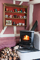 A wood-burning stove is situated on a raised platform in one corner of the living room with a stack of logs stored conveniently beside it