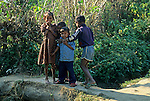 Asia, Nepal, Bardia. Local kids of the Tharu village of Bardia.