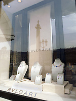 France. Paris. View on Place Vend&ocirc;me and the Bulgari jeweller's shop. The Place Vend&ocirc;me is a square in the 1st arrondissement. Its regular architecture by Jules Hardouin-Mansart and pedimented screens canted across the corners give the rectangular Place Vend&ocirc;me the aspect of an octagon. The Place Vend&ocirc;me Column at the centre was erected by Napoleon to commemorate the battle of Austerlitz. 20.05.09  &copy; 2009 Didier Ruef