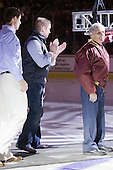Kyle Kucharski, Bobby Allen and Len Ceglarski - The Boston College Eagles defeated the visiting Merrimack College Warriors 3-2 on Friday, October 29, 2010, at Conte Forum in Chestnut Hill, Massachusetts.