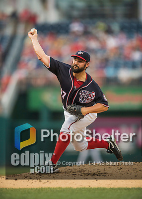 22 July 2016: Washington Nationals starting pitcher Tanner Roark on the mound against the San Diego Padres at Nationals Park in Washington, DC. The Padres defeated the Nationals 5-3 to take the first game of their 3-game, weekend series. Mandatory Credit: Ed Wolfstein Photo *** RAW (NEF) Image File Available ***