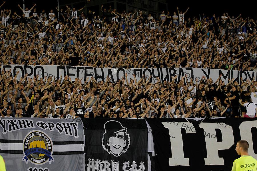Fudbal Football Soccer<br /> UEFA Champions league-2nd qualifying round<br /> Partizan v HB Torshavn (Faroe Islands)<br /> Grobari navijaci u spomen glumcu Bora Todorovic<br /> Beograd, 07.15.2014.<br /> foto: Srdjan Stevanovic/Starsportphoto &copy;
