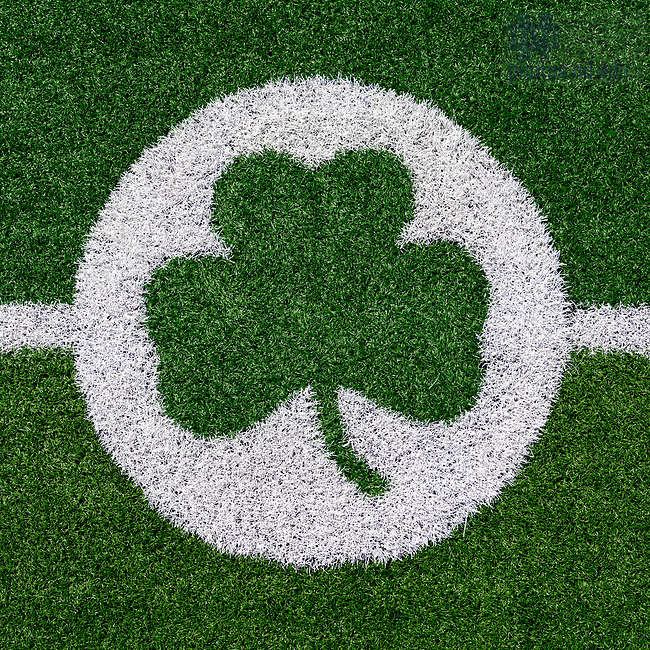 May 12, 2017; Shamrock on the field at Notre Dame Stadium (Photo by Matt Cashore/University of Notre Dame)