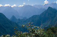 View towards the Machu Picchu mountains, Salkantay trek, Peru, 2016.