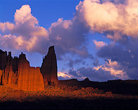 Fisher Towers and Evening Clouds, Titan Spire, Proposed La Sal Waters Wilderness, Utah