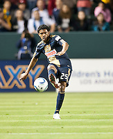 CARSON, CA – April 2, 2011: Philadelphia Union defender Shaenon Williams (25) during the match between LA Galaxy and Philadelphia Union at the Home Depot Center, March 26, 2011 in Carson, California. Final score LA Galaxy 1, Philadelphia Union 0.