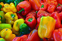"""Farm-fresh produce fresh fruits,Red, Green, Yellow bell peppers (or """"sweet pepper"""") fleshy pod enclosing a quantity of whitish seeds in its internal cavity"""