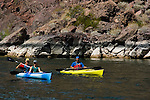 Kayaking, no model release, on the Colorado River below Hoover Dam on border of Arizona, AZ, Nevada, NV, tourism, vacation, sports, action, image nv418-18677.Photo copyright: Lee Foster, www.fostertravel.com, lee@fostertravel.com, 510-549-2202