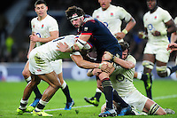 Remi Lamerat of France is double-tackled. RBS Six Nations match between England and France on February 4, 2017 at Twickenham Stadium in London, England. Photo by: Patrick Khachfe / Onside Images
