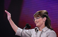 ST PAUL, MN - September 3, 2008: Alaska Governor and Republican Vice President nominee Sarah Palin speaking at the 2008 Republican National Convention at the Excel Center in St. Paul, Minnesota.
