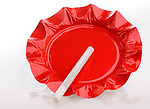Red Foil Ashtray with Cigarette