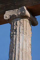 EPIDAURUS, GREECE - APRIL 15 : A detail of a column and capital in the two part stoa of the Abaton, or dormitory, on April 15, 2007 in Epidaurus, Greece. It forms part of northwest boundary of the central Sanctuary of Asklepios, north of the Temple of Asklepios. It was built c. 400  - 350 BC, in the Late Classical Period and is Ionic in style. Asklepios was the God of health and happieness and patients came to the sanctuary in search of a cure. (Photo by Manuel Cohen)