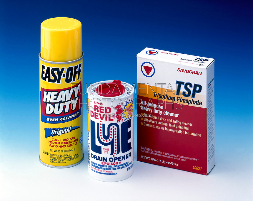 BASES IN HOUSEHOLD CLEANERS<br /> Easy-Off; Red Devil Lye; Trisodium Phosphate (TSP)<br /> Easy-Off and Red Devil drain opener contain sodium hydroxide (lye).  TSP (Na3PO4) contains the anion of a polyprotic acid.