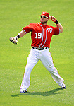29 May 2011: Washington Nationals outfielder Laynce Nix in action against the San Diego Padres at Nationals Park in Washington, District of Columbia. The Padres defeated the Nationals 5-4 to take the rubber match of their 3-game series. Mandatory Credit: Ed Wolfstein Photo