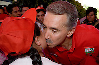 Roberto Madrazo, the nominee of the Institutional Revolutionary Party (PRI) for Presidency, kisses a supporter during a campaign event in a Mexico City neighborhood, April 12, 2006. Madrazo has been in third place in the polls since the beginning of the campaign in January 2006. Photo by © Javier Rodriguez
