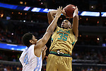 11 March 2016: Notre Dame's Bonzie Colson (35) and North Carolina's Isaiah Hicks (4). The University of North Carolina Tar Heels played the University of Notre Dame Fighting Irish at the Verizon Center in Washington, DC in the Atlantic Coast Conference Men's Basketball Tournament semifinal and a 2015-16 NCAA Division I Men's Basketball game. UNC won the game 78-47.