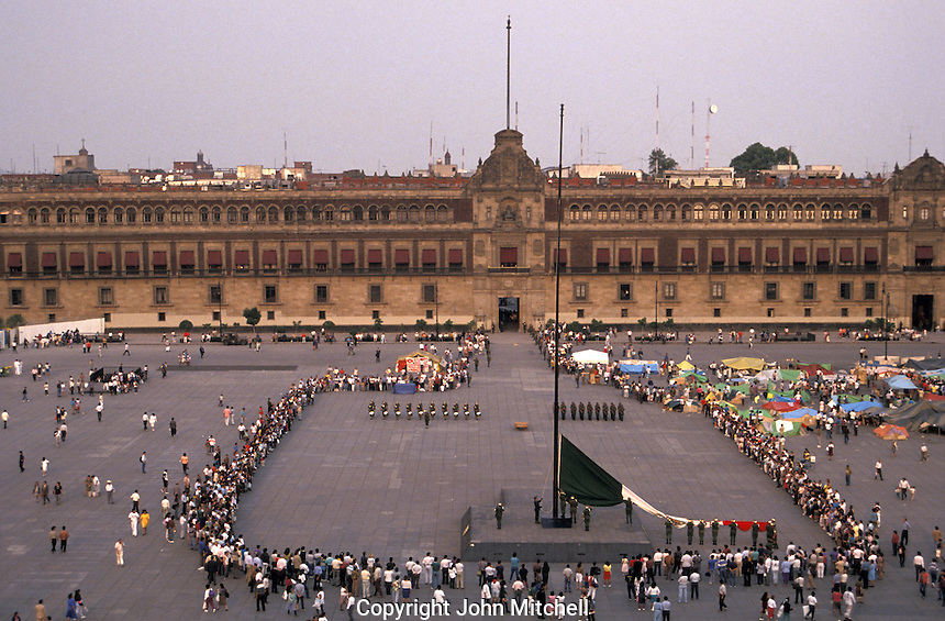 Daily flag-lowering ceremony in the Zocalo or Plaza de la Constitucion, Mexico City