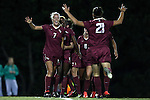 23 October 2014: Florida State's Dagny Brynjarsdottir (ISL) (7) celebrates her goal with Marta Bakowska-Mathews (ENG) (21) and Cheyna Williams (19). The University of North Carolina Tar Heels hosted the Florida State University Seminoles at Fetzer Field in Chapel Hill, NC in a 2014 NCAA Division I Women's Soccer match. The game ended in a 1-1 tie after double overtime.