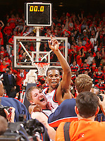 singletary, basketball, duke win, mikalouskas, jpj arena, win, celebrate, excitment