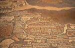 Jordan, the 6th Century Byzantine mosaic Madaba Map.The part depicting Jerusalem&amp;#xA;<br />
