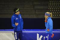 SCHAATSEN: HEERENVEEN: 03-10-2014, IJsstadion Thialf, Team Continu, Gianni Romme, Letitia de Jong, ©foto Martin de Jong