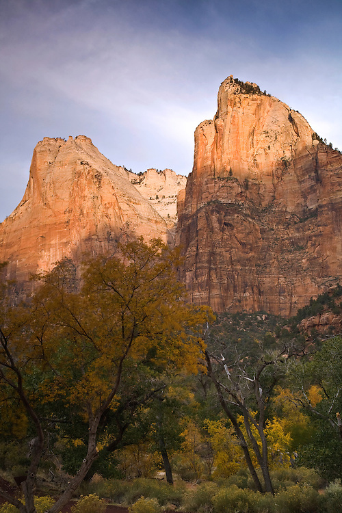 Abraham Peak and Isaac Peak of the Court of the Patriarchs in autumn at Zion National Park, Utah
