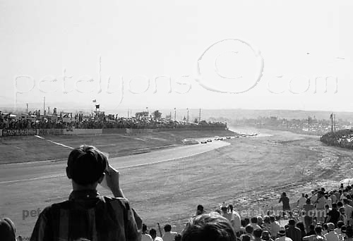 First lap of 1967 Riverside Can-Am (blend of 2 images for more appealing crowd composition); PHOTO BY Pete Lyons 1967 / www.petelyons.com