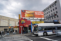 A McDonald's restaurant in Queens in New York with a billboard promoting their popular All Day Breakfast promotion on Friday, April 8, 2016. (© Richard B. Levine)