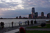 NNew York, New York<br /> October 16, 2011<br /> <br /> View from lower Manhattan, of Newark, New Jersey at dusk from Robert F. Wagner, Jr. Park.
