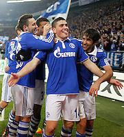 FUSSBALL   1. BUNDESLIGA   SAISON 2011/2012    17. SPIELTAG FC Schalke 04 - SV Werder Bremen                            17.12.2011 Torjubel: Marco Hoeger, Kyriakos Papadopoulos und Raul (v.l, alle FC Schalke 04)