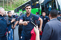 The USA's Chris Wondolowski arrives before the United States played Guatemala at Estadio Mateo Flores in Guatemala City, Guatemala in a World Cup Qualifier on Tue. June 12, 2012.