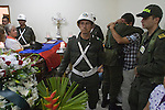 Colombian policeman Juan Rodriguez burial in the church of the town of Guarne. Darío Rodríguez died together with three soldiers in a clash with the Revolutionary Forces of Colombia (FARC) last April 29, 2012, the patrol was an ambush in the province Caqueta, in this procession there was travelling the French journalist Romeo Langlois, who is missing and apparently it has been kidnapped by the FARC. In province of Guarne, Antioquia, Colombia. 30/04/2012. Photo by Fredy Amariles/VIEWpress.