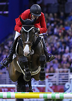 OMAHA, NEBRASKA - APR 2: Christopher Surbey rides Chalacorada during the Longines FEI World Cup Jumping Final at the CenturyLink Center on April 2, 2017 in Omaha, Nebraska. (Photo by Taylor Pence/Eclipse Sportswire/Getty Images)