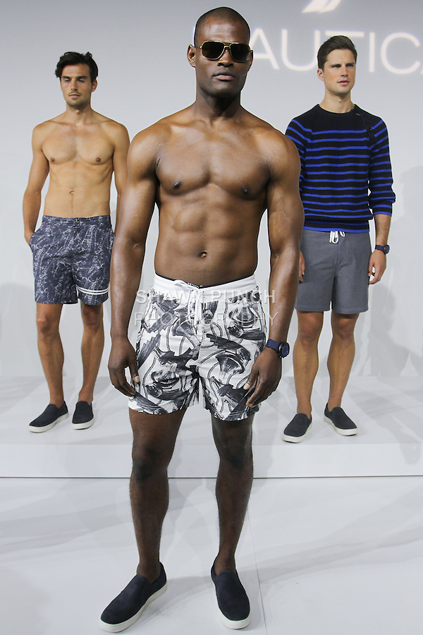 Model poses in an outfit from the Nautica Men's Spring 2016 Swim collection by Steve McSween, during New York Fashion Week Men's Spring Summer 2016.