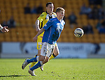 St Johnstone v St Mirren....21.03.15<br /> David Wotherspoon is fouled by Alan Gow<br /> Picture by Graeme Hart.<br /> Copyright Perthshire Picture Agency<br /> Tel: 01738 623350  Mobile: 07990 594431