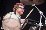 Electric Fields music festival at Drumlanrig Castle near Dumfries Scotland. Public Service Broadcast drummer on stage