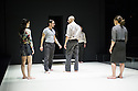 London, UK. 08.04.2014. A VIEW FROM THE BRIDGE, by Arthur Miller, opens at the Young Vic. Directed by Ivo Van Hove, design and light by Jan Versweyveld and costumes by An D'Huys. Picture shows: Phoebe Fox (Catherine), Mark Strong (eddie), Michael Gould (Alfieri) and Nicola Walker (Beatrice). Photograph © Jane Hobson.