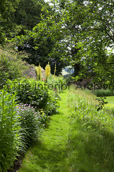 A mown grass path runs between a wild bank and a summer border at Haddon Hall
