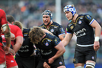 Leroy Houston of Bath Rugby rallies his fellow forwards at a scrum. European Rugby Champions Cup match, between Bath Rugby and RC Toulon on January 23, 2016 at the Recreation Ground in Bath, England. Photo by: Patrick Khachfe / Onside Images